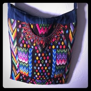 Bohemian bag, fab colors, lined and denim, hippie